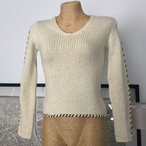 Escada sport sweater trim leather Size S